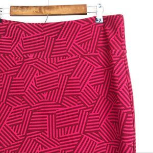LulaRoe Red Patterned Stretchy Cassie Pencil Skirt